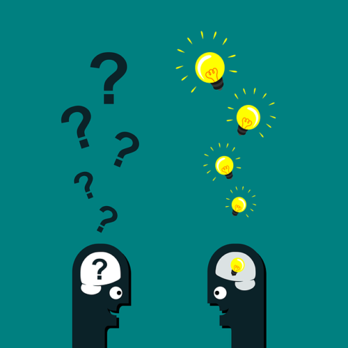 Two minimalist cartoon heads talking; the one on the left has question marks raising from its head; the one on the right has illuminated lightbulbs raising from its head.